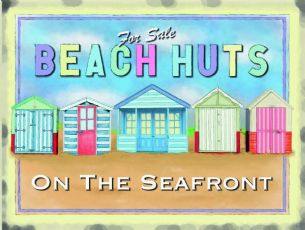 "10388 - 6"" x 8"" Beach Huts for Sale Vintage Metal Steel Sign Plaque"